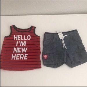 Baby boy gap cargo shorts 6-12 mon and tank 9 mon